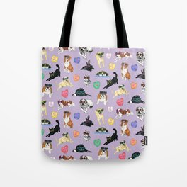 Valentine's Day Candy Hearts Puppy Love - Purple Tote Bag