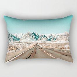 Vintage Desert Road // Winter Storm Red Rock Canyon Las Vegas Nature Scenery View Rectangular Pillow