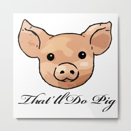 Retro Floral Piggy Metal Print