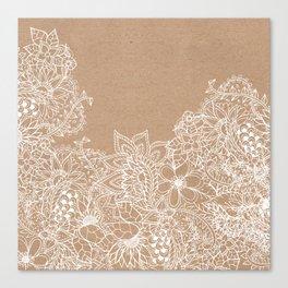 Modern white hand drawn floral illustration on rustic beige faux kraft color block Canvas Print