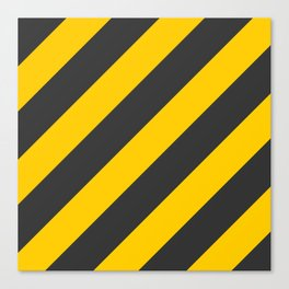 Stripes Diagonal Black & Yellow Canvas Print