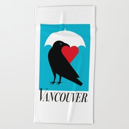 Vancouver's Canuck the Crow Beach Towel