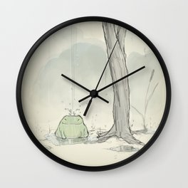 The frog under the rain Wall Clock
