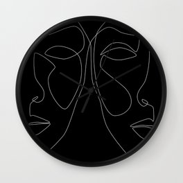 White line couple Wall Clock