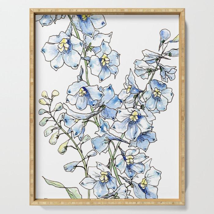 Blue Delphinium Flowers Serving Tray
