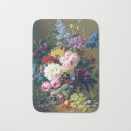 Arnoldus Bloemers - Flowers with Fruit and a Bird's Nest on a Marble Ledge Bath Mat