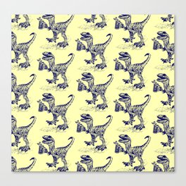 Tipsy Velociraptor with Beer Pattern Canvas Print