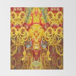 Oriental Style Swirls and Curls Throw Blanket