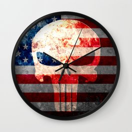 Punisher Themed Skull and American Flag on Distressed Metal Wall Clock