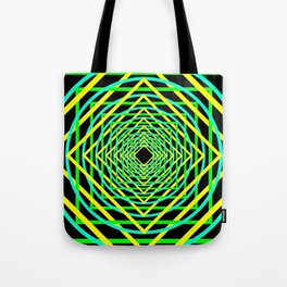 Diamonds in the Rounds Blacklight Neons Yellow Greens Tote Bag