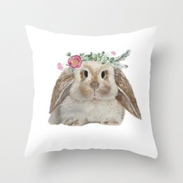 Cute Bunny with Flower Crown Throw Pillow