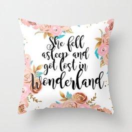 Lost in Wonderland Throw Pillow