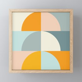 Summer Evening Geometric Shapes in Soft Blue and Orange Framed Mini Art Print