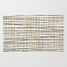 Line Art - Gold and Black Lines on White - Mix and Match with Simplicty of Life Rug