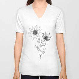 Wildflower line drawing | Botanical Art Unisex V-Neck