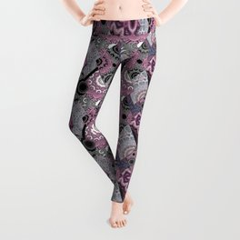 The national pattern in the patchwork . Purple Leggings