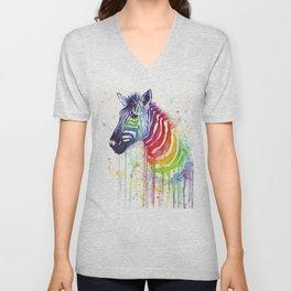 Zebra Watercolor Rainbow Animal Painting Ode to Fruit Stripes Unisex V-Neck