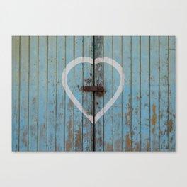 Rustic Blue Heart Canvas Print
