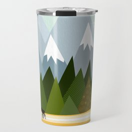 Woodland snowy mountain tops trees and mother moose and baby Travel Mug