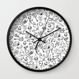 Zelda A Collection of Items Pattern Wall Clock
