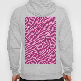 Abstract pink & white Lines and Triangles Pattern - Mix and Match with Simplicity of Life Hoody