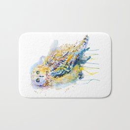 Short Eared Owl Watercolor painting Bath Mat