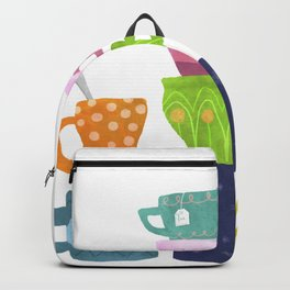 Coffee And Tea Cups And Mugs Stacked High Backpack