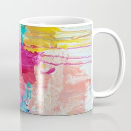 ELATED - Beautiful Bright Colorful Modern Abstract Painting Wild Rainbow Pastel Pink Color Coffee Mug