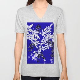 LEAF AND TREE BRANCHES BLUE AD WHITE BLACK BERRIES Unisex V-Neck