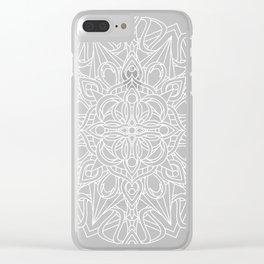 White Mandala on Grey Linen Clear iPhone Case