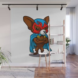 Cute dog chihuahua Fighter Lucha Libre Wall Mural
