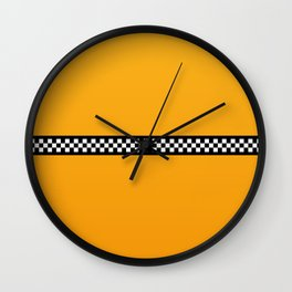 NY Taxi Cab Yellow with Black and White Check Band Wall Clock