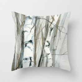 Winter Birch Trees Woodland Watercolor Original Art Print Throw Pillow