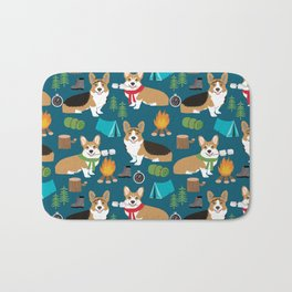Corgi camping marshmallow roasting corgis outdoors nature dog lovers Bath Mat