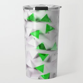 Green triangles on white field Travel Mug