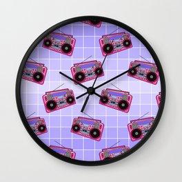 Boombox / Blue Grid Wall Clock