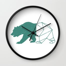 California Grizzly Bear - Vintage Starry Sky Print Wall Clock