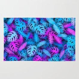 Blue pink tropical leaves Rug