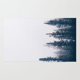 Minimalist Landscape Photo Pine Tree Silhouette Misty Forest Rug