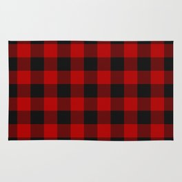 Red and black squares plaid print Rug