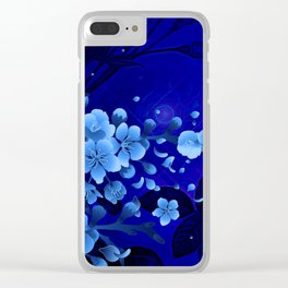 Cherry blossom, blue colors Clear iPhone Case