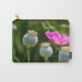 Pink Poppy and Buds Carry-All Pouch