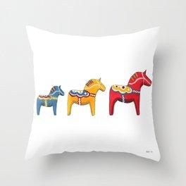 Dala horses Throw Pillow