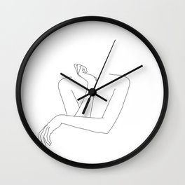 Minimal line drawing of woman's folded arms - Anna Wall Clock