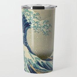 The Classic Japanese Great Wave off Kanagawa Print by Hokusai Travel Mug
