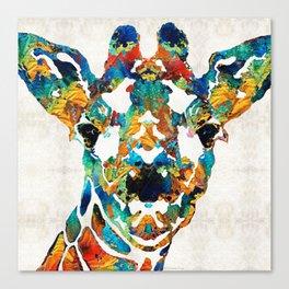 Colorful Giraffe Art - Curious - By Sharon Cummings Canvas Print
