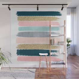 Zara - minimal gold navy pink pastel stripes painterly boho decor trendy gifts Wall Mural