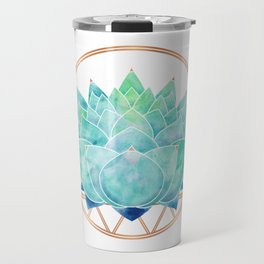 Modern Blue Succulent with Metallic Accents Travel Mug