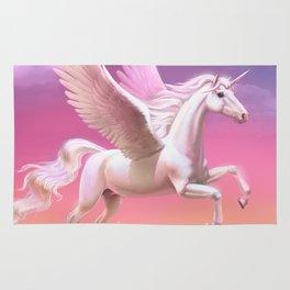 Flying unicorn at sunset Rug