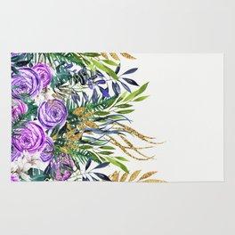 Gold Glitter Purple Garden Rug